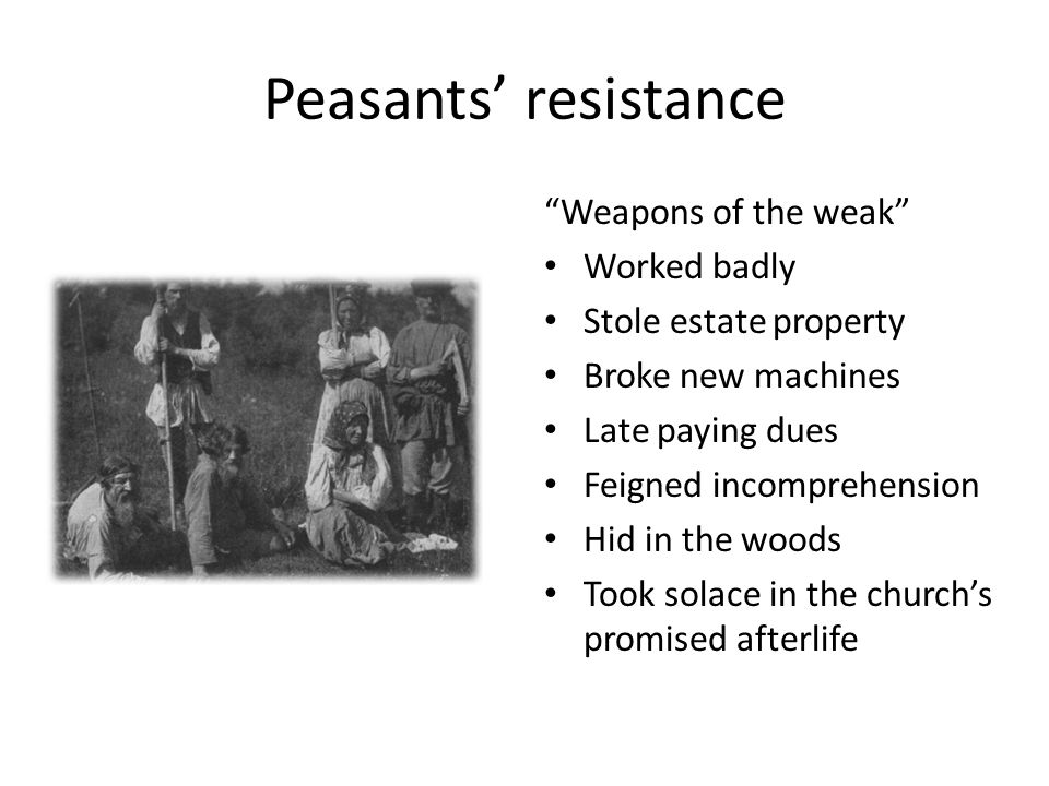 Peasants' resistance Weapons of the weak Worked badly Stole estate property Broke new machines Late paying dues Feigned incomprehension Hid in the woods Took solace in the church's promised afterlife