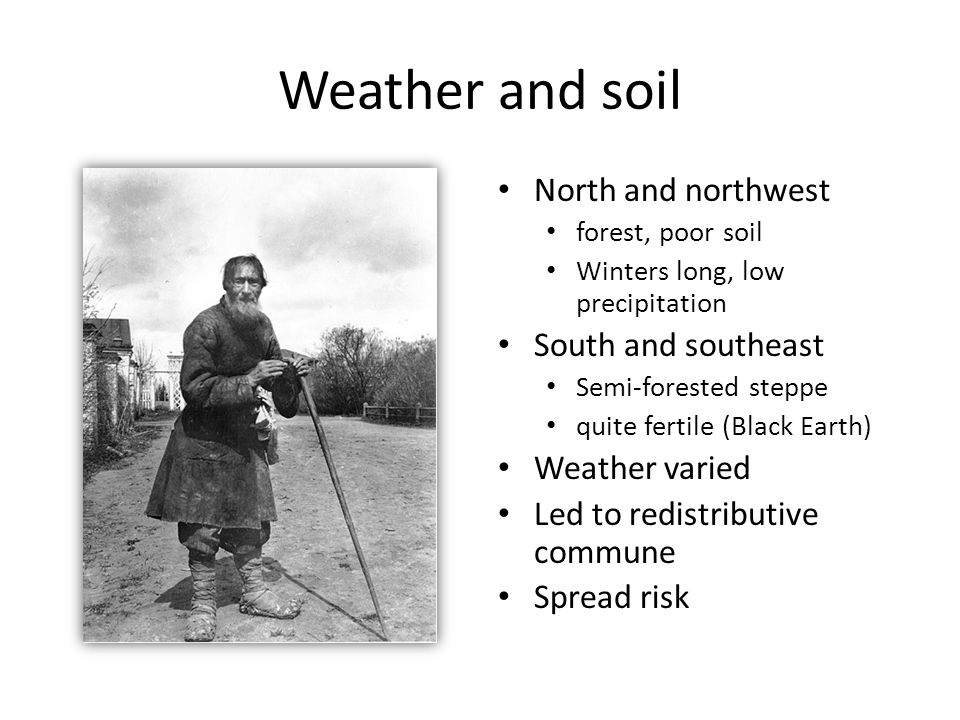 Weather and soil North and northwest forest, poor soil Winters long, low precipitation South and southeast Semi-forested steppe quite fertile (Black Earth) Weather varied Led to redistributive commune Spread risk