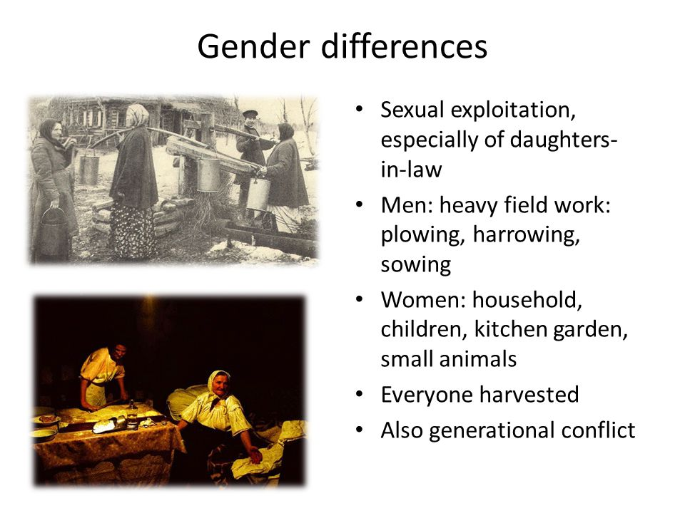 Gender differences Sexual exploitation, especially of daughters- in-law Men: heavy field work: plowing, harrowing, sowing Women: household, children, kitchen garden, small animals Everyone harvested Also generational conflict