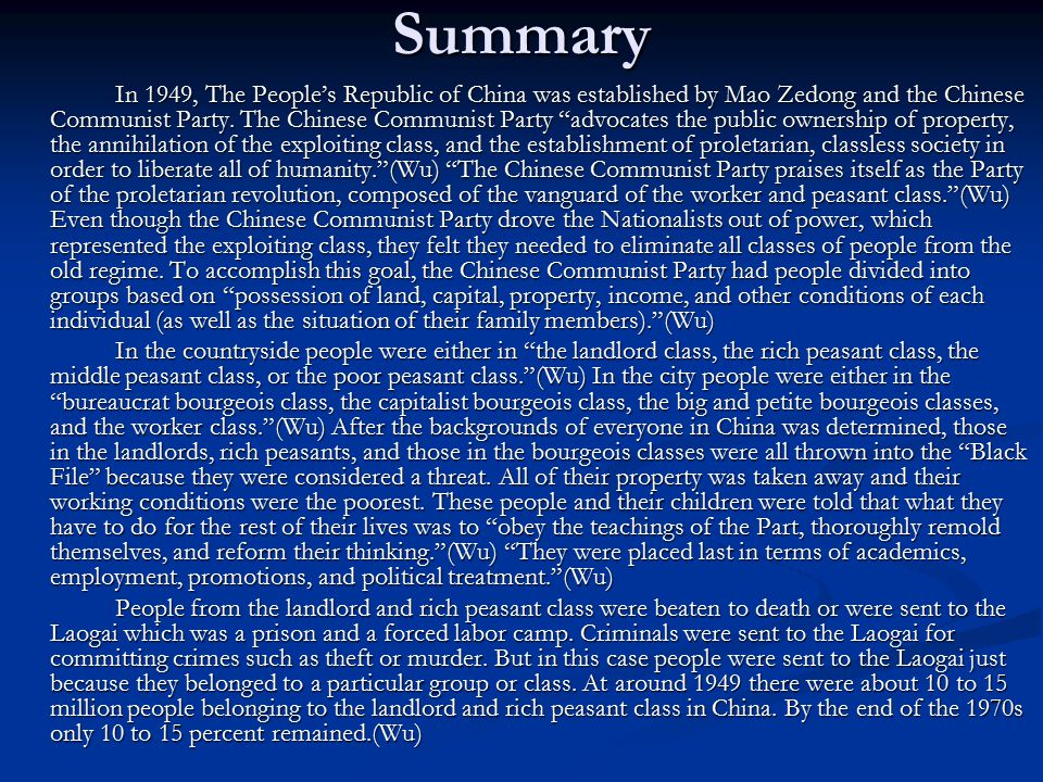 Role of the UN The U.N was just established during communism in China.