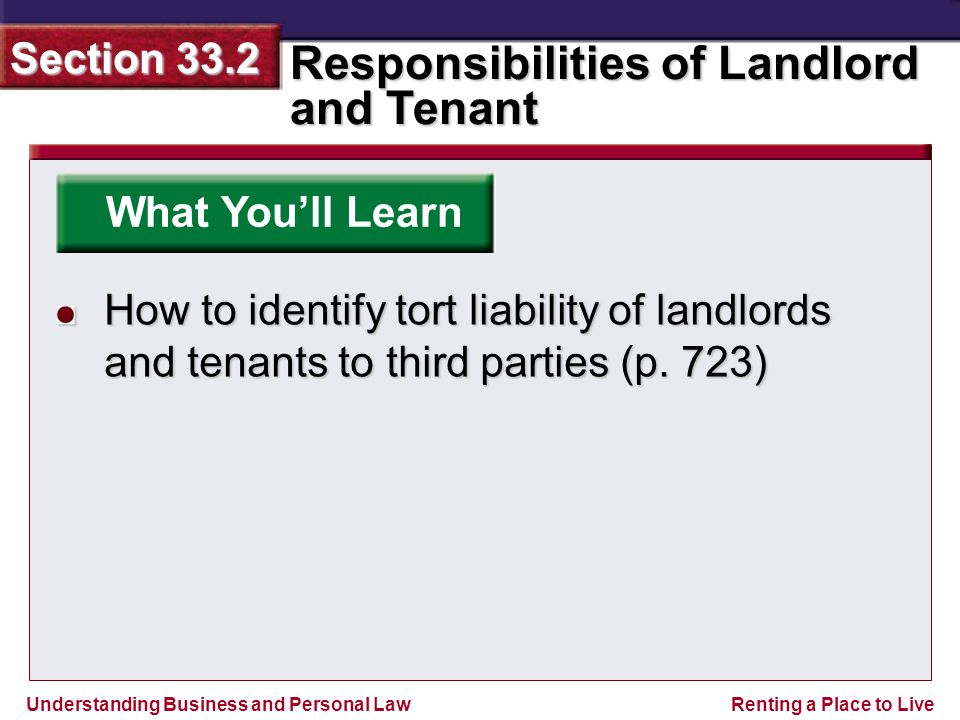Understanding Business and Personal Law Responsibilities of Landlord and Tenant Section 33.2 Renting a Place to Live What You'll Learn How to identify tort liability of landlords and tenants to third parties (p.