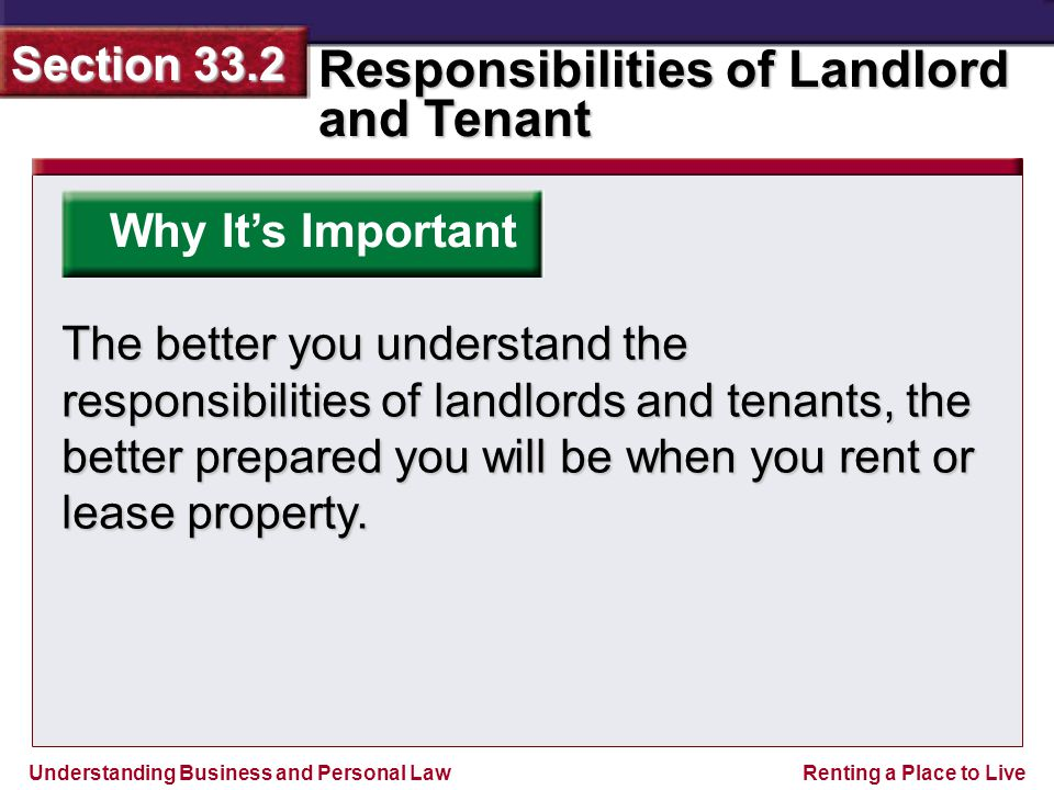 Understanding Business and Personal Law Responsibilities of Landlord and Tenant Section 33.2 Renting a Place to Live ANSWER Refraining from discrimination.