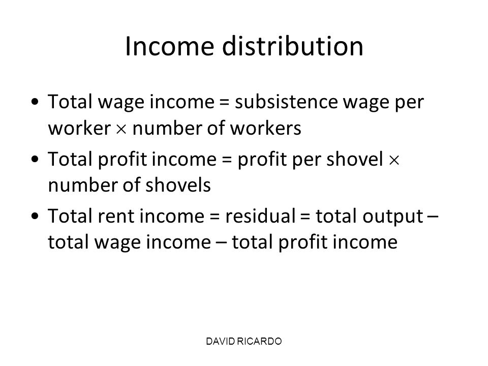 Income distribution Total wage income = subsistence wage per worker  number of workers Total profit income = profit per shovel  number of shovels To