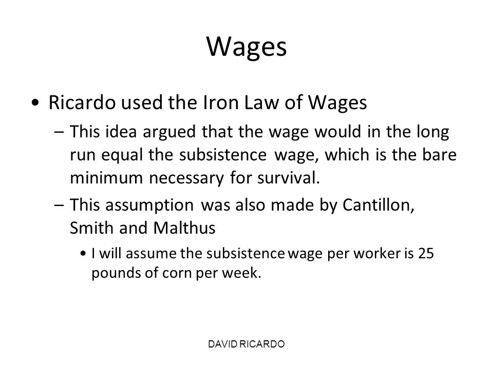 DAVID RICARDO Labor Theory of Value For simple economic activities such as hunting and fishing, the Labor Theory of Value was fine according to Ricardo –Smith had the same view This is an illustration of the classical idea that in the long run demand has no influence on (relative) prices.