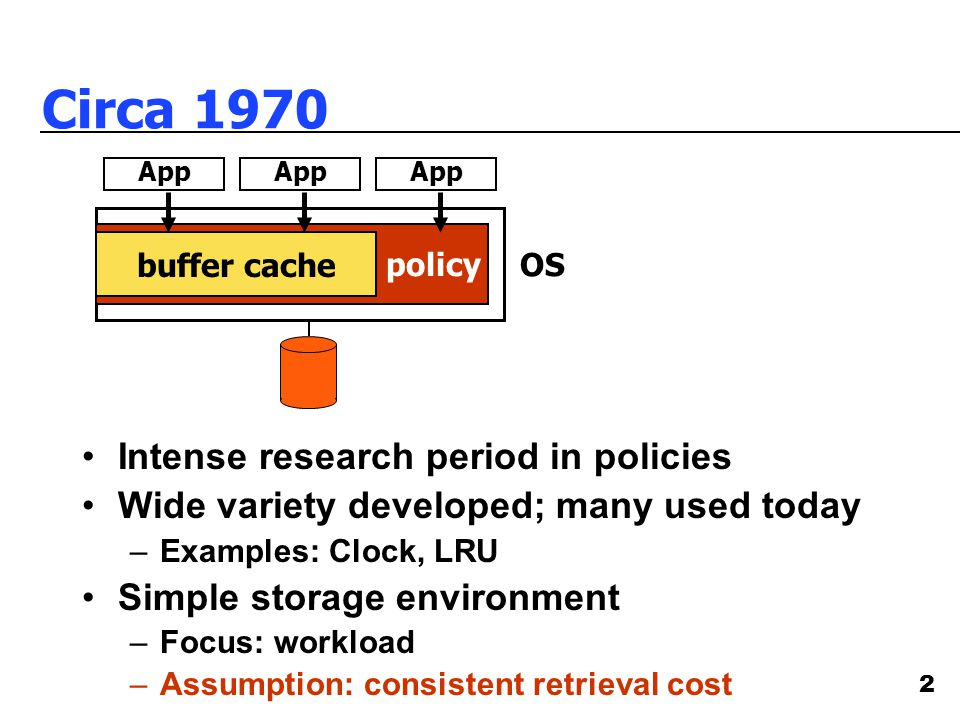 2 Circa 1970 OS policy Intense research period in policies Wide variety developed; many used today –Examples: Clock, LRU Simple storage environment –Focus: workload –Assumption: consistent retrieval cost buffer cache App