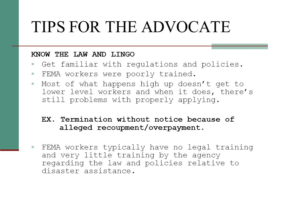Tips for the Advocate FEMA's notices generally provide basic information about applicants right to appeal.
