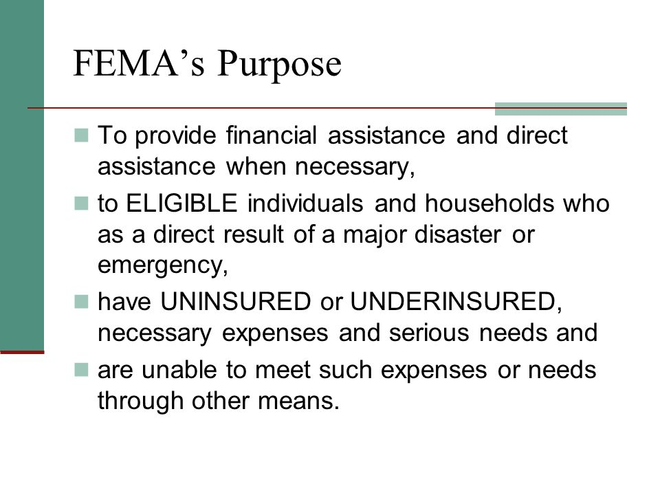 Flood Insurance Requirement FEMA's Flood Insurance: One Bite at the Apple An individual can be denied help from FEMA if he/she: Lived in a flood zone; and Got FEMA help before in another disaster; and Was told to buy flood insurance; and Does not carry flood insurance now.