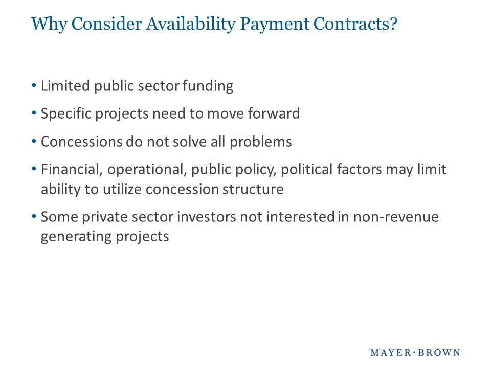 What Are Availability Payment Contracts.