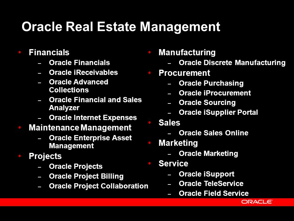  Financials – Oracle Financials – Oracle iReceivables – Oracle Advanced Collections – Oracle Financial and Sales Analyzer – Oracle Internet Expenses