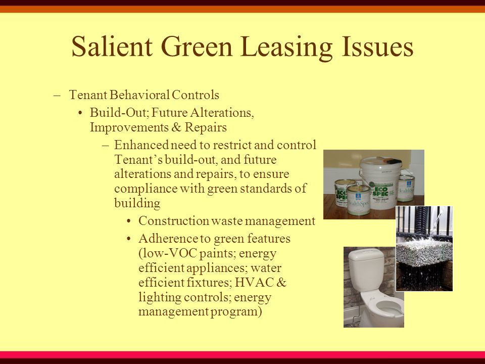 Salient Green Leasing Issues –Tenant Behavioral Controls Build-Out; Future Alterations, Improvements & Repairs –Enhanced need to restrict and control Tenant's build-out, and future alterations and repairs, to ensure compliance with green standards of building Construction waste management Adherence to green features (low-VOC paints; energy efficient appliances; water efficient fixtures; HVAC & lighting controls; energy management program)