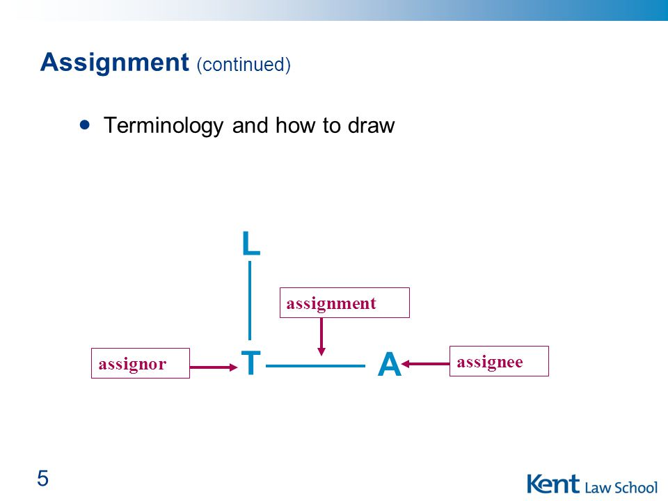 5 Assignment (continued) Terminology and how to draw LTLT assignment assignee assignor A