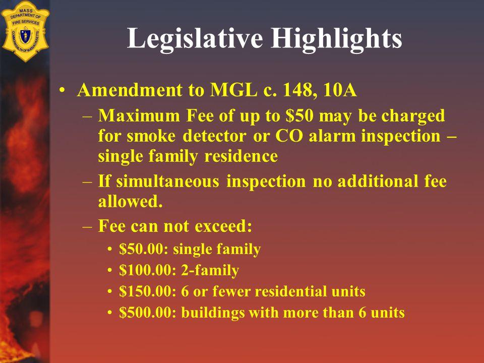 Legislative Highlights Amendment to MGL c.