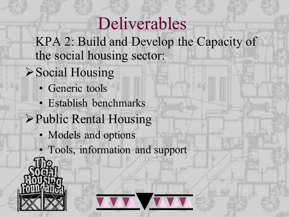 Deliverables KPA 2: Build and Develop the Capacity of the social housing sector:  Social Housing Generic tools Establish benchmarks  Public Rental Housing Models and options Tools, information and support
