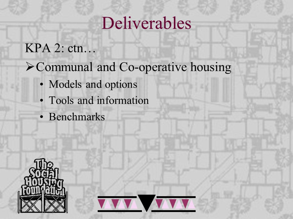 Deliverables KPA 2: ctn…  Communal and Co-operative housing Models and options Tools and information Benchmarks