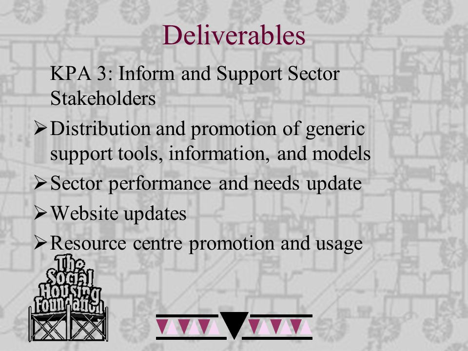 Deliverables KPA 3: Inform and Support Sector Stakeholders  Distribution and promotion of generic support tools, information, and models  Sector per