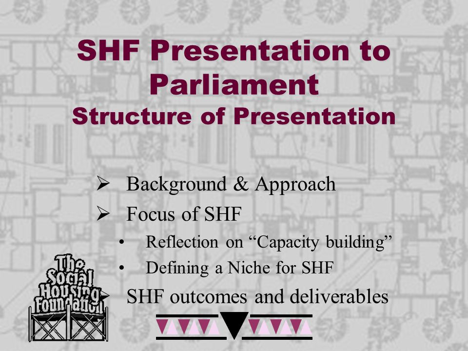 Focus of the SHF Mission: - To enable, support and strengthen the capability of the social housing sector to build sustainable, well functioning communities through the provision of sustainable social housing  Capacity building and  Capacity building grant making This should address: - the demands of the sector and - contribute towards the implementation of governments' breaking new ground strategy.