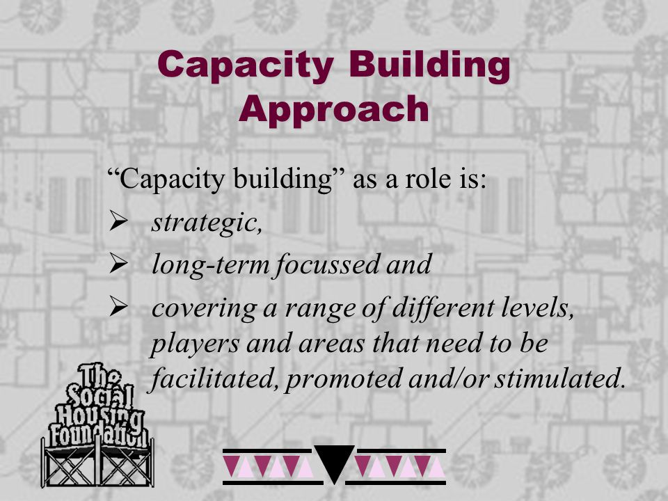SHF Role The SHF niche capacity building role would cover:  Building the knowledge base and advancing the field  Building the capability of individuals to meet the output requirements of their organisations  Building the capacity of social rental housing organisations and the sector  Ensuring that these organizations are aligned to strategic intent for the sector.