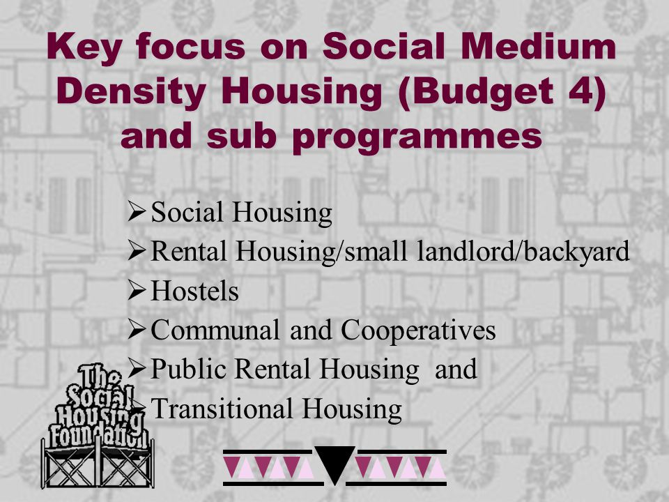 Key focus on Social Medium Density Housing (Budget 4) and sub programmes  Social Housing  Rental Housing/small landlord/backyard  Hostels  Communa