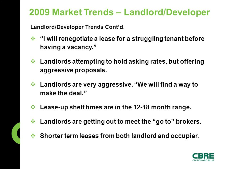 Landlord/Developer Trends Cont'd.