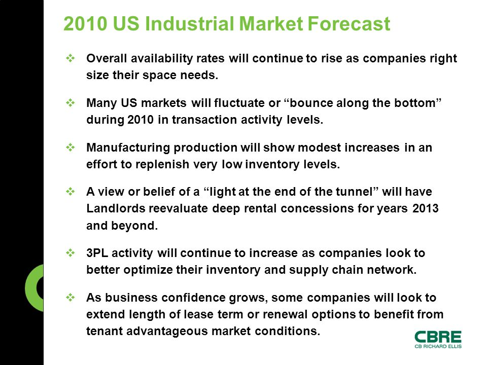 2010 US Industrial Market Forecast  Overall availability rates will continue to rise as companies right size their space needs.