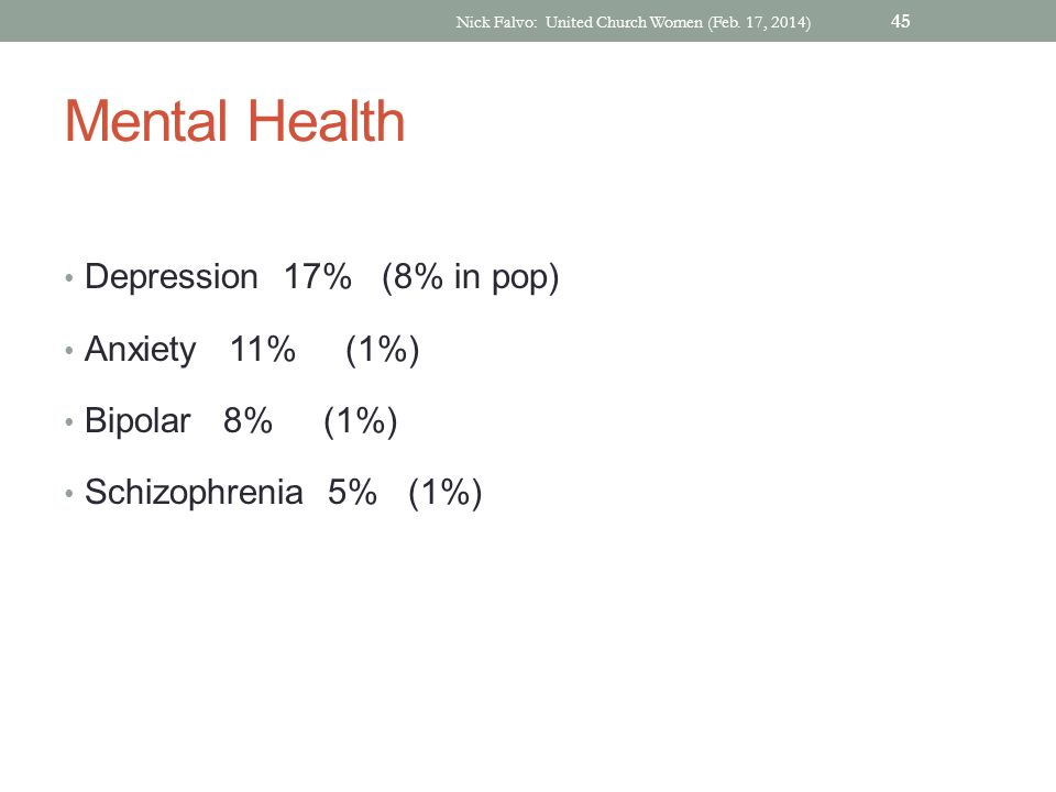 Mental Health Depression 17% (8% in pop) Anxiety 11% (1%) Bipolar 8% (1%) Schizophrenia 5% (1%) Nick Falvo: United Church Women (Feb.