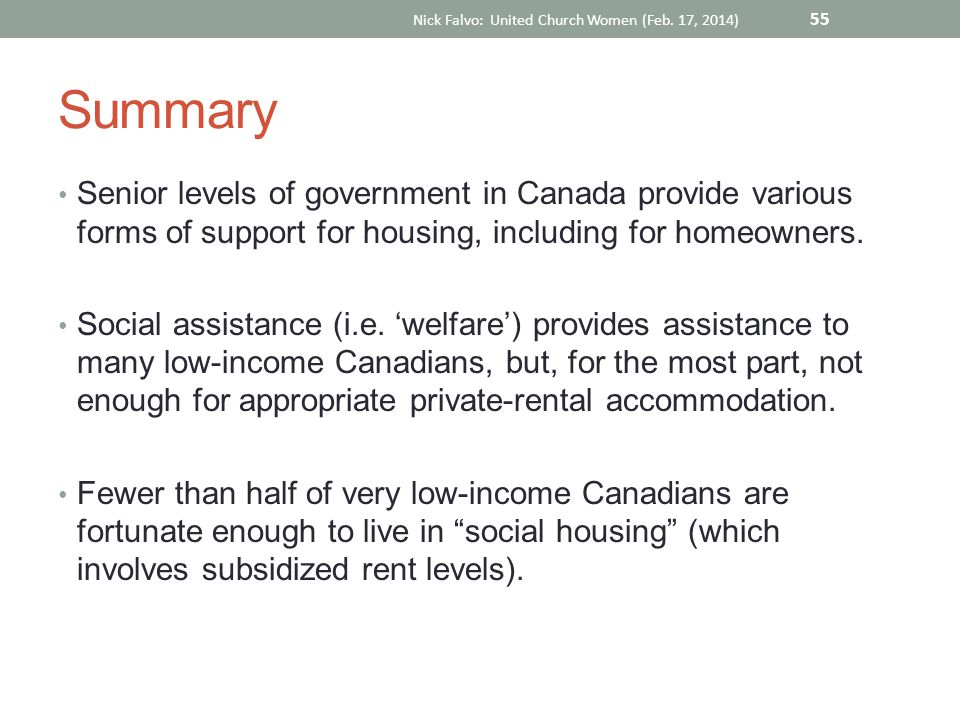 Summary Senior levels of government in Canada provide various forms of support for housing, including for homeowners. Social assistance (i.e. 'welfare