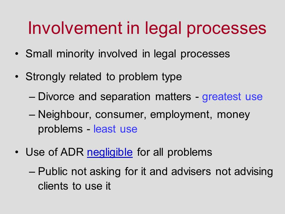 Involvement in legal processes Small minority involved in legal processes Strongly related to problem type –Divorce and separation matters - greatest use –Neighbour, consumer, employment, money problems - least use Use of ADR negligible for all problems –Public not asking for it and advisers not advising clients to use it