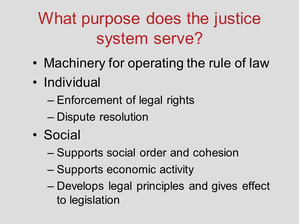 What purpose does the justice system serve? Machinery for operating the rule of law Individual –Enforcement of legal rights –Dispute resolution Social