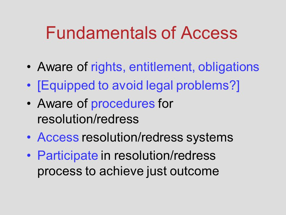 Fundamentals of Access Aware of rights, entitlement, obligations [Equipped to avoid legal problems ] Aware of procedures for resolution/redress Access resolution/redress systems Participate in resolution/redress process to achieve just outcome