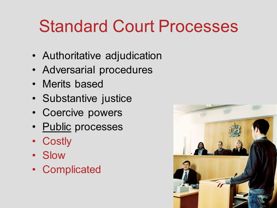 Standard Court Processes Authoritative adjudication Adversarial procedures Merits based Substantive justice Coercive powers Public processes Costly Sl