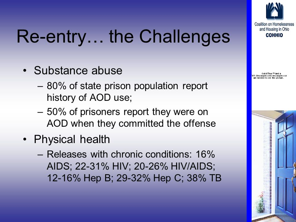 Re-entry… the Challenges Substance abuse –80% of state prison population report history of AOD use; –50% of prisoners report they were on AOD when they committed the offense Physical health –Releases with chronic conditions: 16% AIDS; 22-31% HIV; 20-26% HIV/AIDS; 12-16% Hep B; 29-32% Hep C; 38% TB