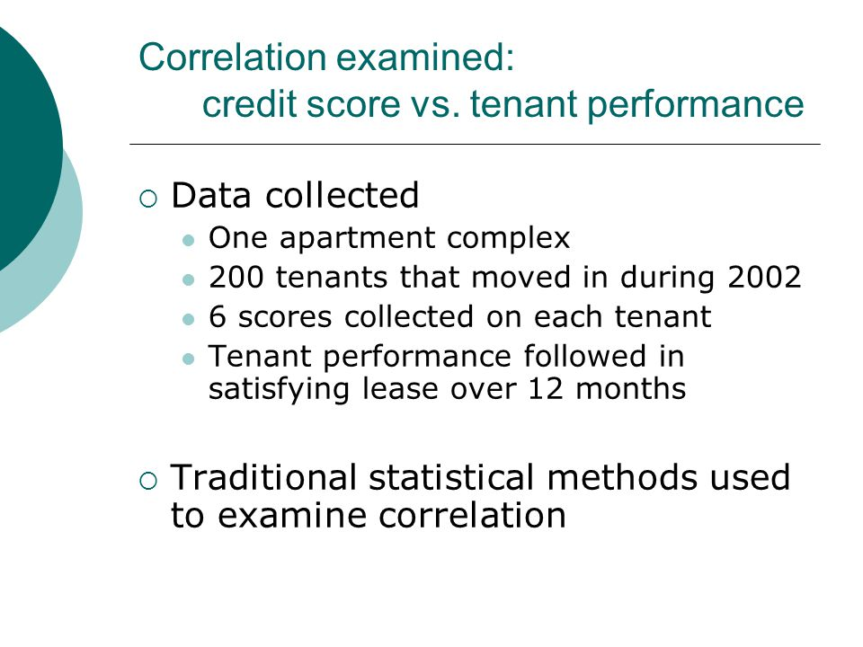 Correlation examined: credit score vs.