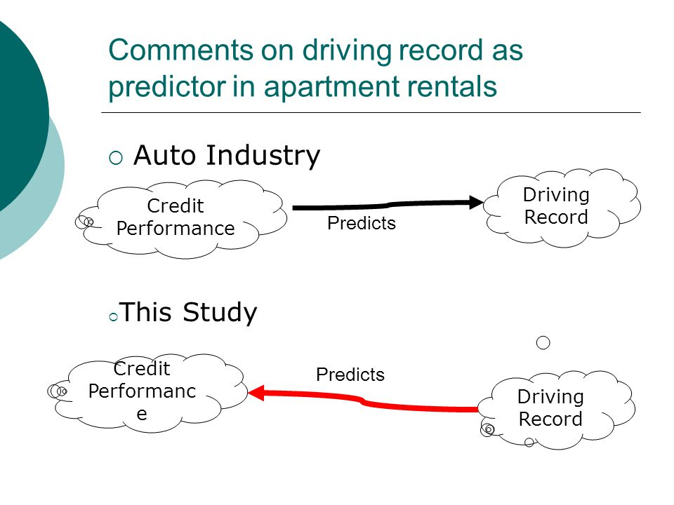 Comments on driving record as predictor in apartment rentals  Auto Industry Credit Performanc e Driving Record Predicts  This Study Credit Performance Driving Record Predicts
