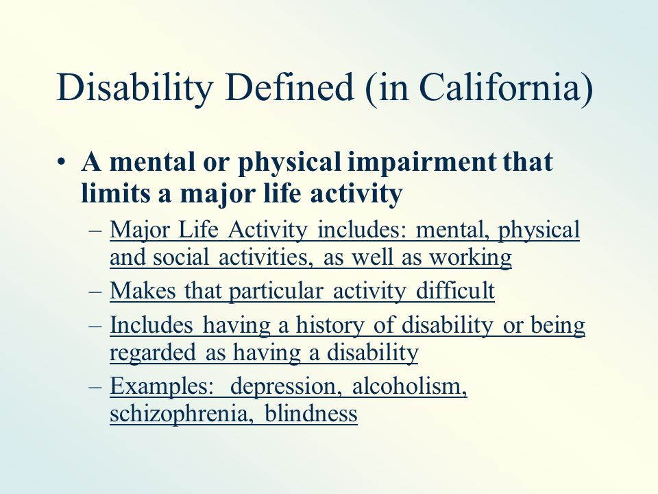 Disability is Not: Current Drug Addiction Pyromania Kleptomania Sexual behavior disorder Compulsive gambling