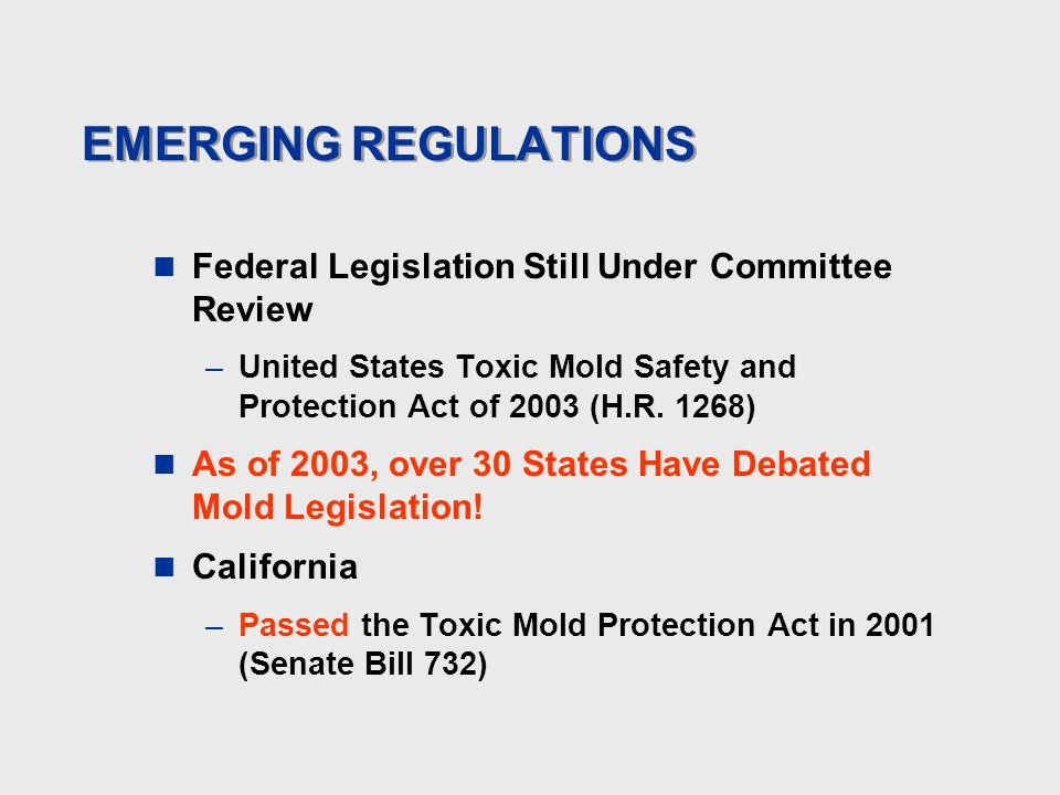 EMERGING REGULATIONS Federal Legislation Still Under Committee Review –United States Toxic Mold Safety and Protection Act of 2003 (H.R.