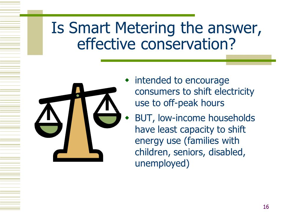 16 Is Smart Metering the answer, effective conservation.