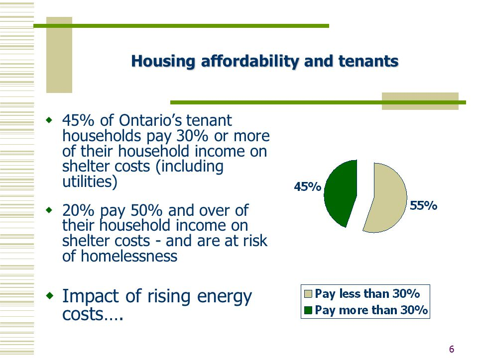 6  45% of Ontario's tenant households pay 30% or more of their household income on shelter costs (including utilities)  20% pay 50% and over of their household income on shelter costs - and are at risk of homelessness  Impact of rising energy costs….