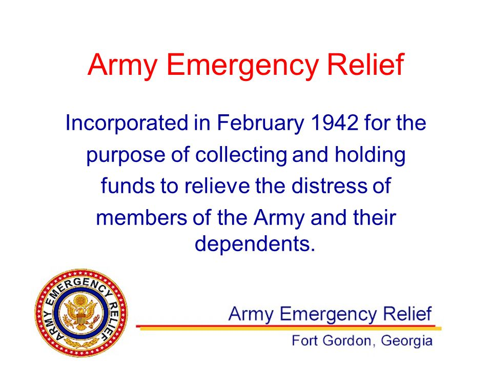 Incorporated in February 1942 for the purpose of collecting and holding funds to relieve the distress of members of the Army and their dependents.