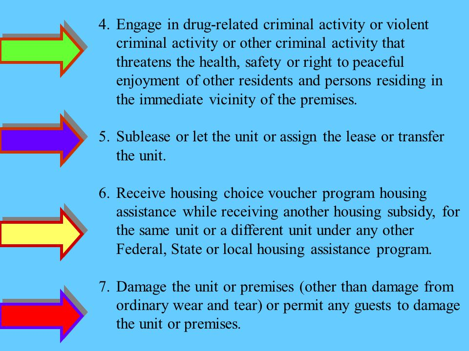 4.Engage in drug-related criminal activity or violent criminal activity or other criminal activity that threatens the health, safety or right to peaceful enjoyment of other residents and persons residing in the immediate vicinity of the premises.