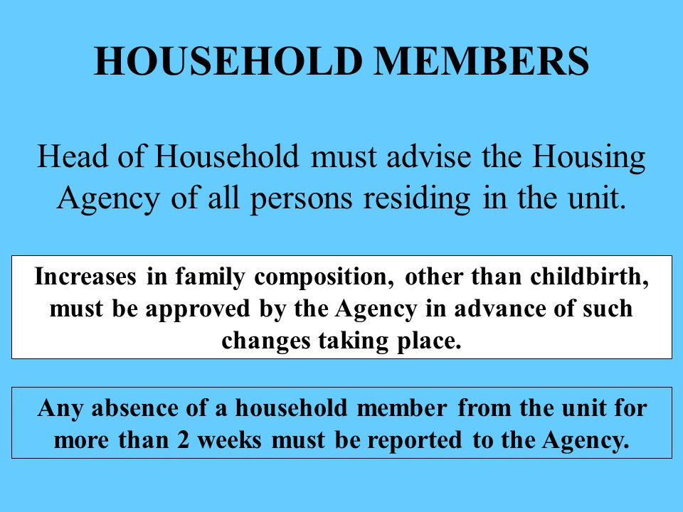 HOUSEHOLD MEMBERS Head of Household must advise the Housing Agency of all persons residing in the unit.