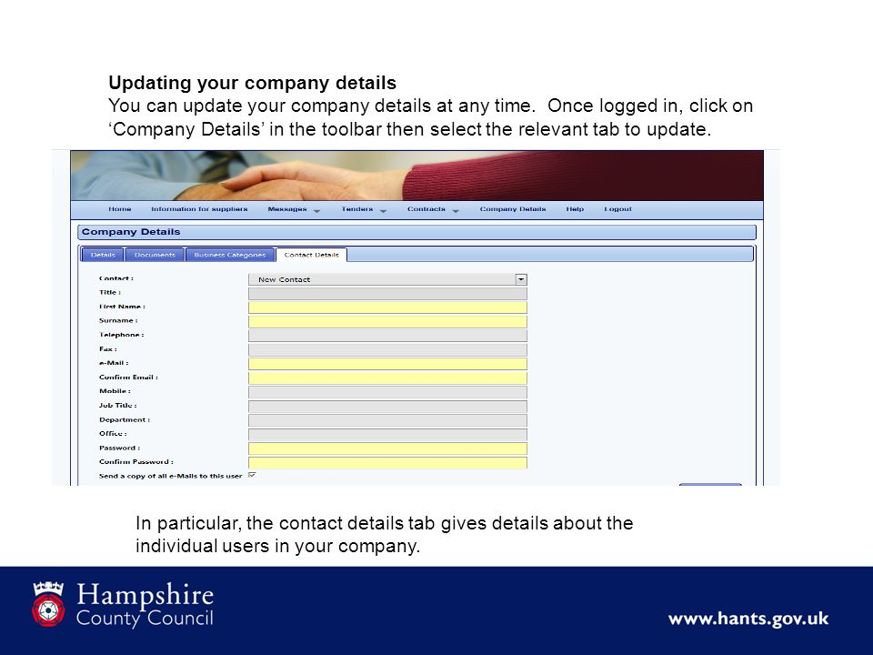 Updating your company details You can update your company details at any time.