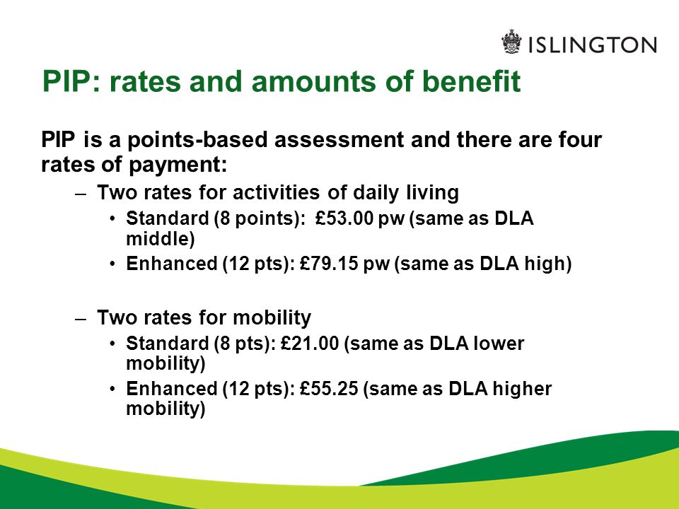 PIP: rates and amounts of benefit PIP is a points-based assessment and there are four rates of payment: –Two rates for activities of daily living Stan