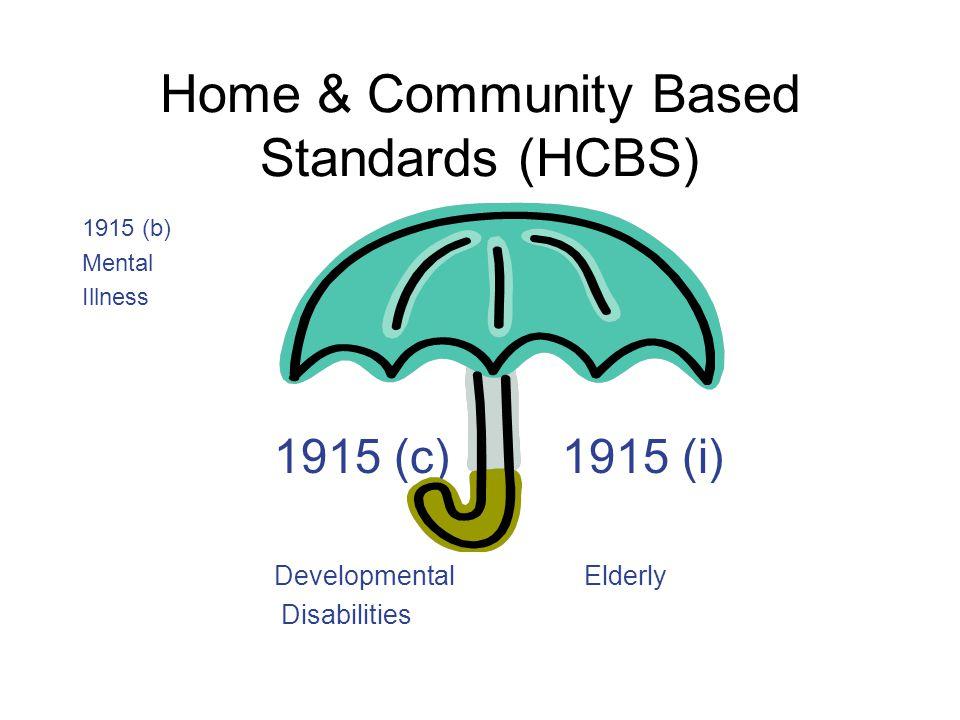 Home & Community Based Standards (HCBS) 1915 (b) Mental Illness 1915 (c)1915 (i) Developmental Elderly Disabilities
