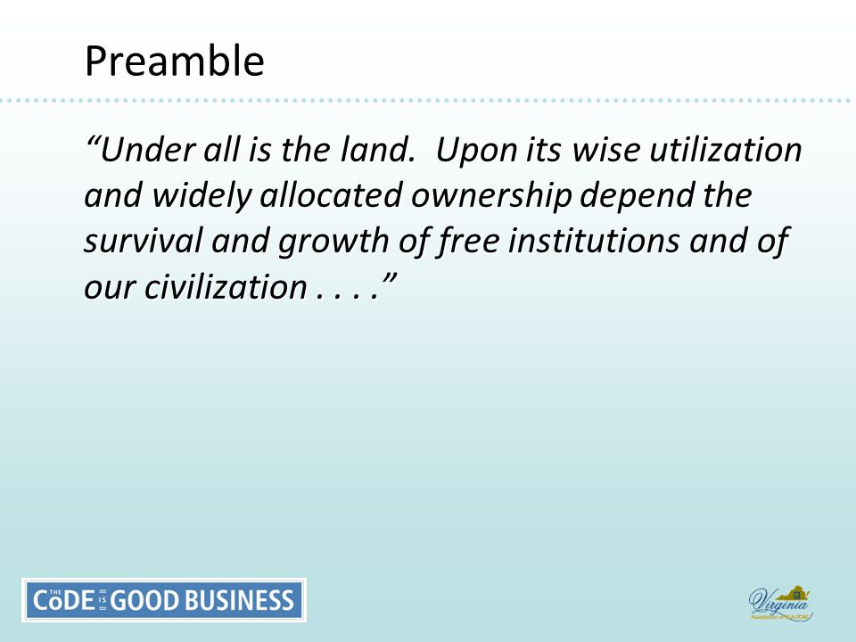 Preamble Preamble Under all is the land.