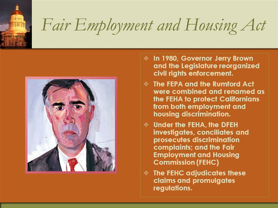 Rumford Fair Housing Act  Passage of the Rumford Fair Housing Act followed in 1963.  The Act protected Californians from discrimination in the sale