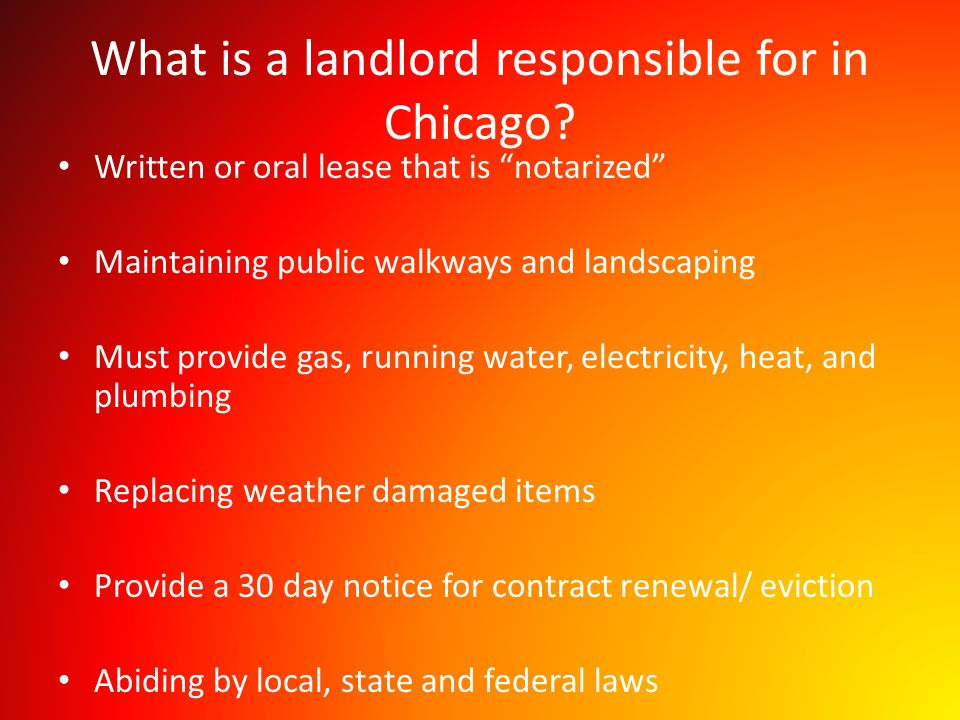 What is a landlord responsible for in Chicago.