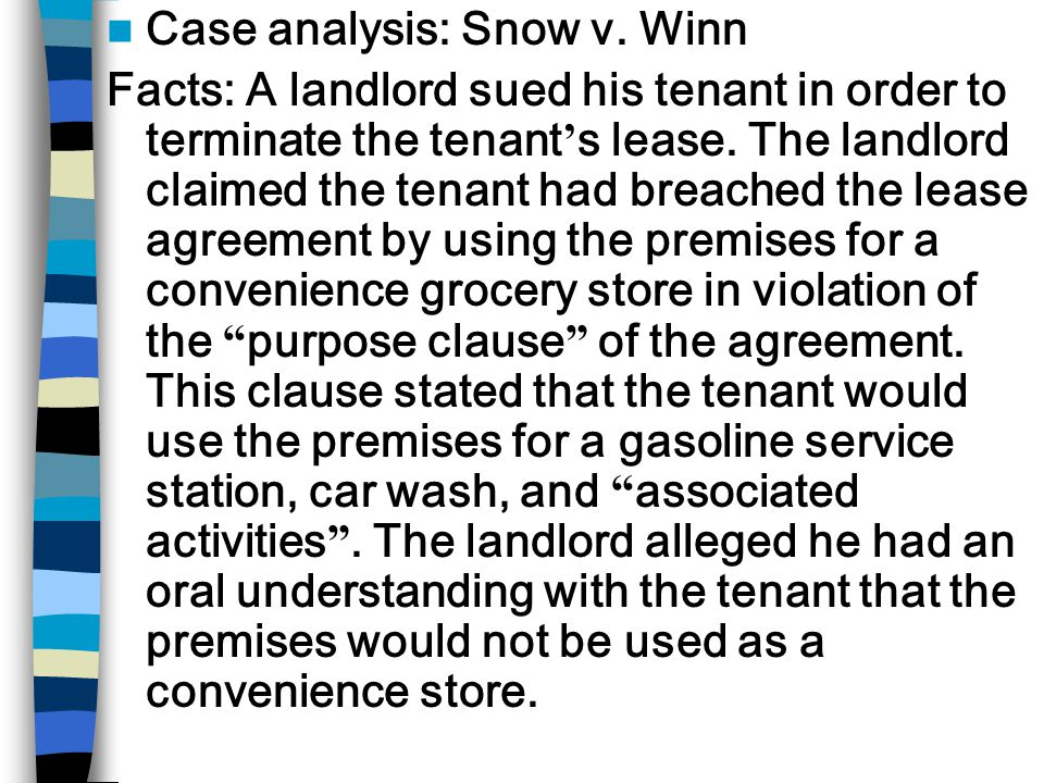 Case analysis: Snow v.