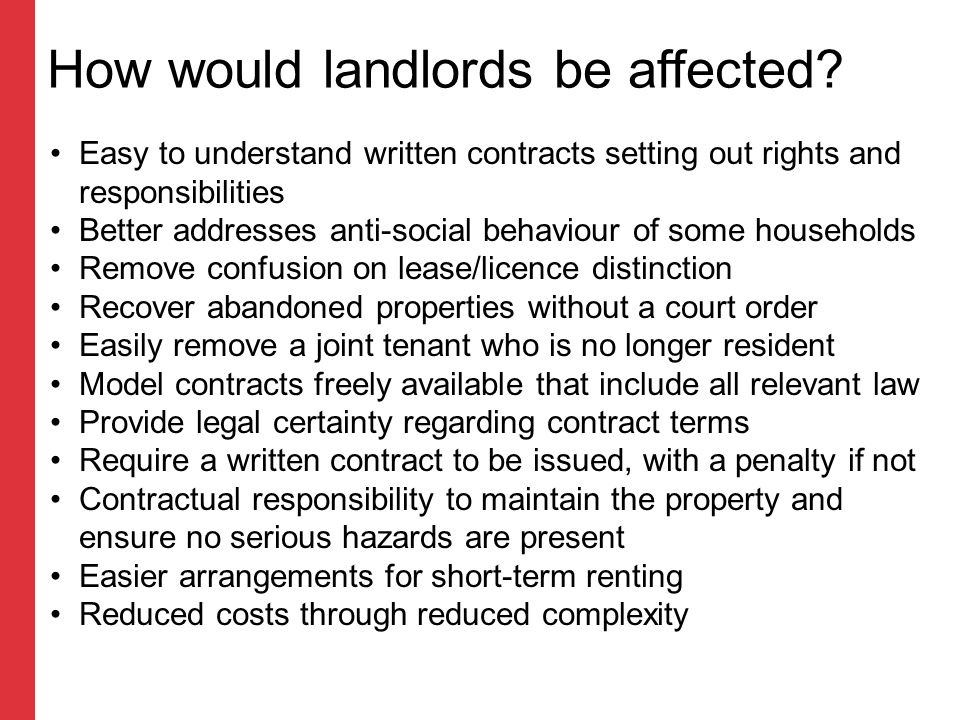How would landlords be affected.