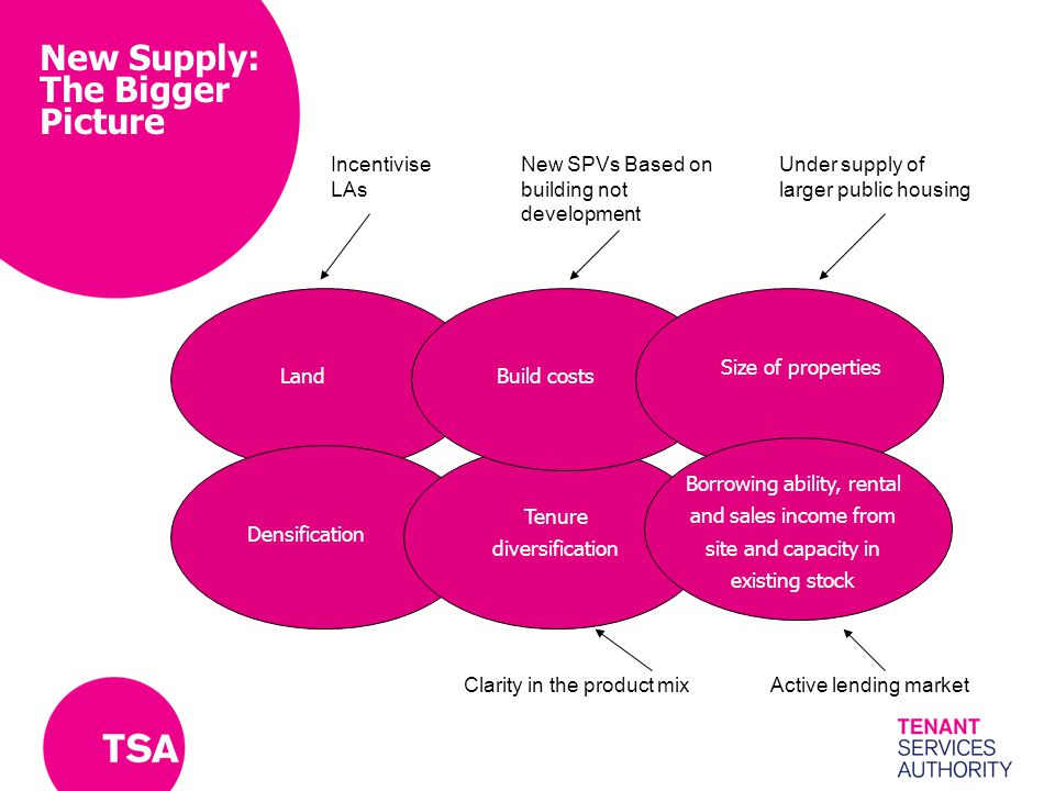 New Supply: The Bigger Picture Size of properties Build costsLand Densification Tenure diversification Borrowing ability, rental and sales income from site and capacity in existing stock Incentivise LAs New SPVs Based on building not development Under supply of larger public housing Clarity in the product mixActive lending market