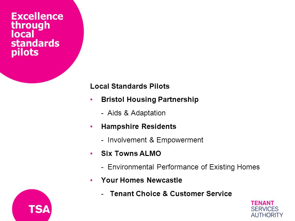 Excellence through local standards pilots Local Standards Pilots Bristol Housing Partnership -Aids & Adaptation Hampshire Residents -Involvement & Empowerment Six Towns ALMO -Environmental Performance of Existing Homes Your Homes Newcastle - Tenant Choice & Customer Service
